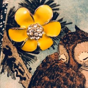 Bold yellow enamel flower ring